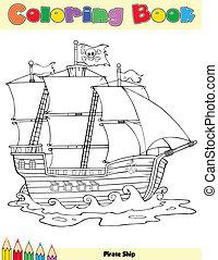 kolorowanie, statek, książka, pirat, strona