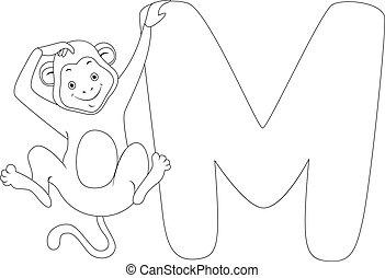 kolorowanie, strona, małpa