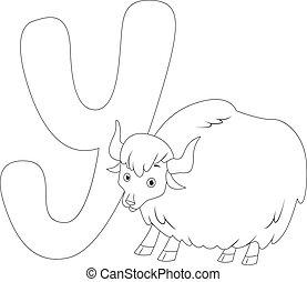 kolorowanie, strona, yak