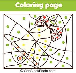 kolorowanie, strona, z, boże narodzenie, bell., kolor, przez, kropkuje, printable, działalność