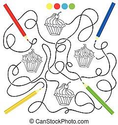 kolorowanie, strona, z, cupcake, rysunek, gra, dla, dzieci