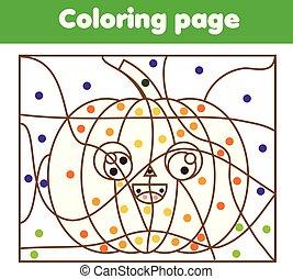 kolorowanie, strona, z, halloween, pumpkin., kolor, przez, kropkuje, printable, działalność