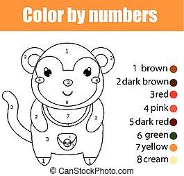 kolorowanie, strona, z, monkey., kolor, przez, takty muzyczne, oświatowy, dzieci, gra, rysunek, dzieciaki, działalność
