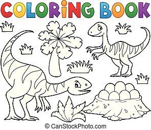 kolorowanie, wizerunek, 1, dinozaur, książka, temat