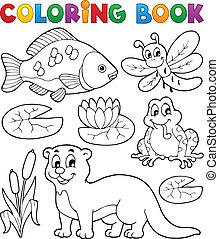 kolorowanie, wizerunek, 1, książka, fauna, rzeka
