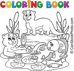 kolorowanie, wizerunek, 3, książka, fauna, rzeka