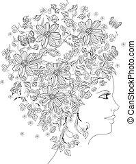 koloryt książka, kwiatowy, portret, dziewczyna, śliczny