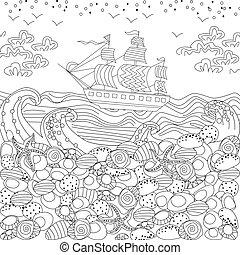 koloryt książka, morze, krajobraz