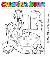 koloryt książka, z, miś, 1