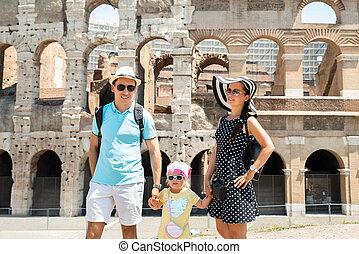 koloseum, mládě, stálý, rodina, čelo