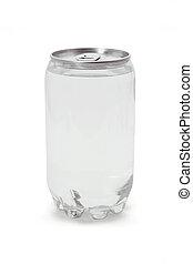 kolsyrad drink, in, plastisk, kan, med, metall, topp