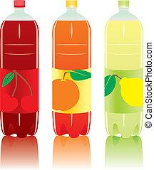 kolsyrad, flaskor, dricka