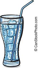 kolsyrad, isvatten, glas, frisk, kylig