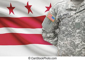 kolumbia, d.. c., körzet, -, állam, bennünket, katona, lobogó, washington, háttér, amerikai