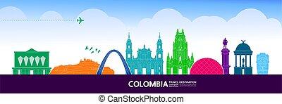 kolumbien, illustration., bestimmungsort, vektor, großartig,...