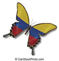 kolumbien markierungsfahne, auf, papillon