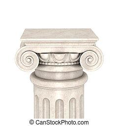 kolumna, biały, odizolowany, tło, marmur