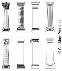 kolumna, grek, jednorazowy, biały, odizolowany