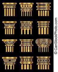 kolumna, starożytny, architektura, wektor