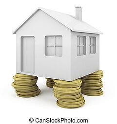kolumny, dom, icoinc, monety