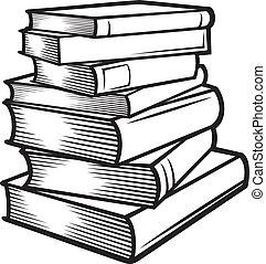 komín k zamluvit, (books, stacked)
