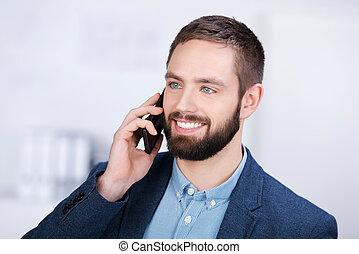 komórka, biznesmen, szczęśliwy, używając, telefon