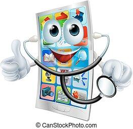 komórka, dzierżawa stetoskop, telefon, człowiek