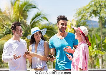 komórka, grupa, komunikowanie, ludzie, na, mężczyźni, smarrtphones, młody, tropikalny, mówiąc, prąd, zielony las, dzierżawa, zmieszać, krajobraz, kobiety