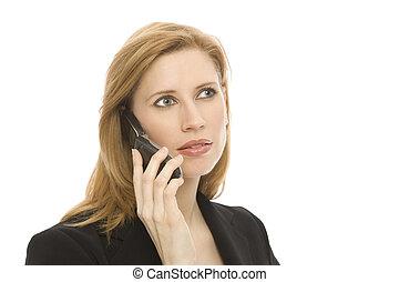 komórka, kobieta interesu, telefon