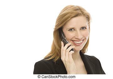 komórka, kobieta interesu, używa, telefon