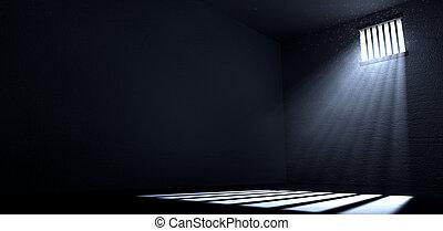 komórka, okno, światło słoneczne, lustrzany, więzienie