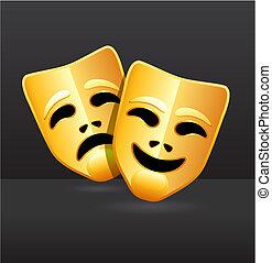 komödie, theater, tragödienmasken