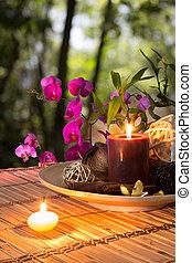 kom, popurri, kaarsjes, orchidee