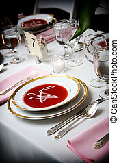 kom, soep, trouwfeest, gebeurtenis