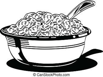 kom, spoon., graan, melk