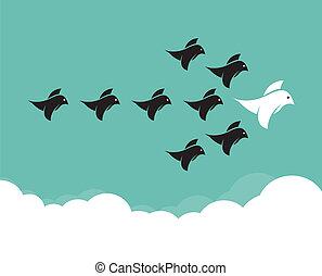 kom van vogels bijeen, vliegen, in, de, hemel, bewindvoering, concept