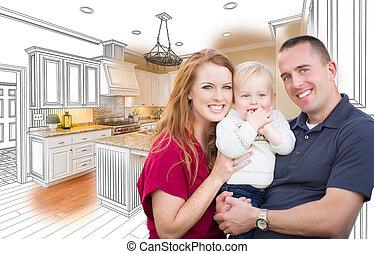 kombinacja, rodzinna fotografia, przód, wojskowy, rysunek, kuchnia
