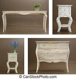 kombination, collage, olika, trä tabell, och, köksskåp