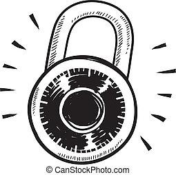 kombination, skiss, låsa