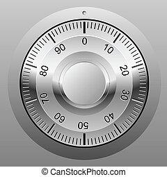 kombination, wheel., lås, pengeskab, illustration, realistiske, vektor