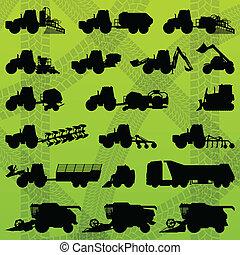 kombinera, industriell, lastbilar, skördearbetare, traktorer, utrustning, grävare, jordbruk, lantbruk