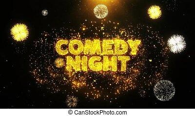 komedia, particles., tekst, wystawa, fajerwerk, wybuch, noc