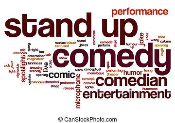 komedia, słowo, stać, chmura, do góry