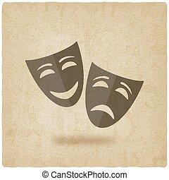 komedia, stary, tło, maski, tragedia