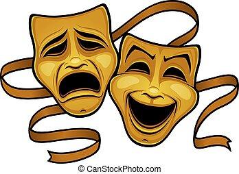 komedia, teatr, maski, złoty, tragedia