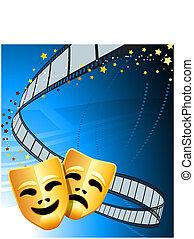 komedia, teatr, tło, maski, tragedia