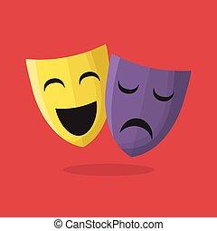 komedia, teatr, tragedia upozorowuje