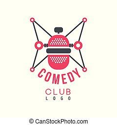 komedie, club, logo, met, retro, microfoon, vector, illustratie, op, een, witte achtergrond