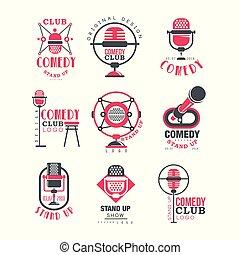 komedie, club, logo, ontwerp, set, opstaan, tonen, tekens & borden, met, retro, microfoon, vector, illustraties, op, een, witte achtergrond