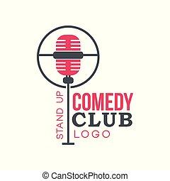 komedie, club, opstaan, logo, met, retro, microfoon, vector, illustratie, op, een, witte achtergrond